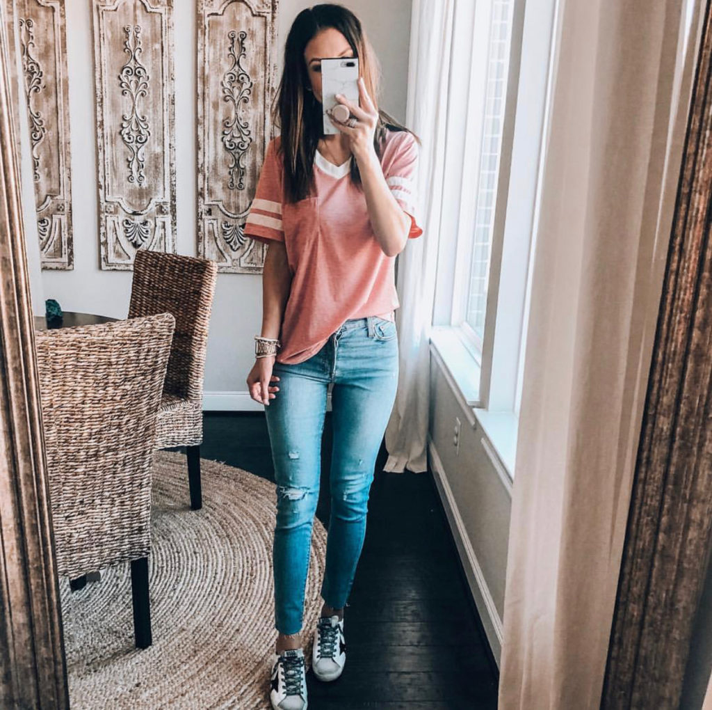 casual striped shirt and distressed denim