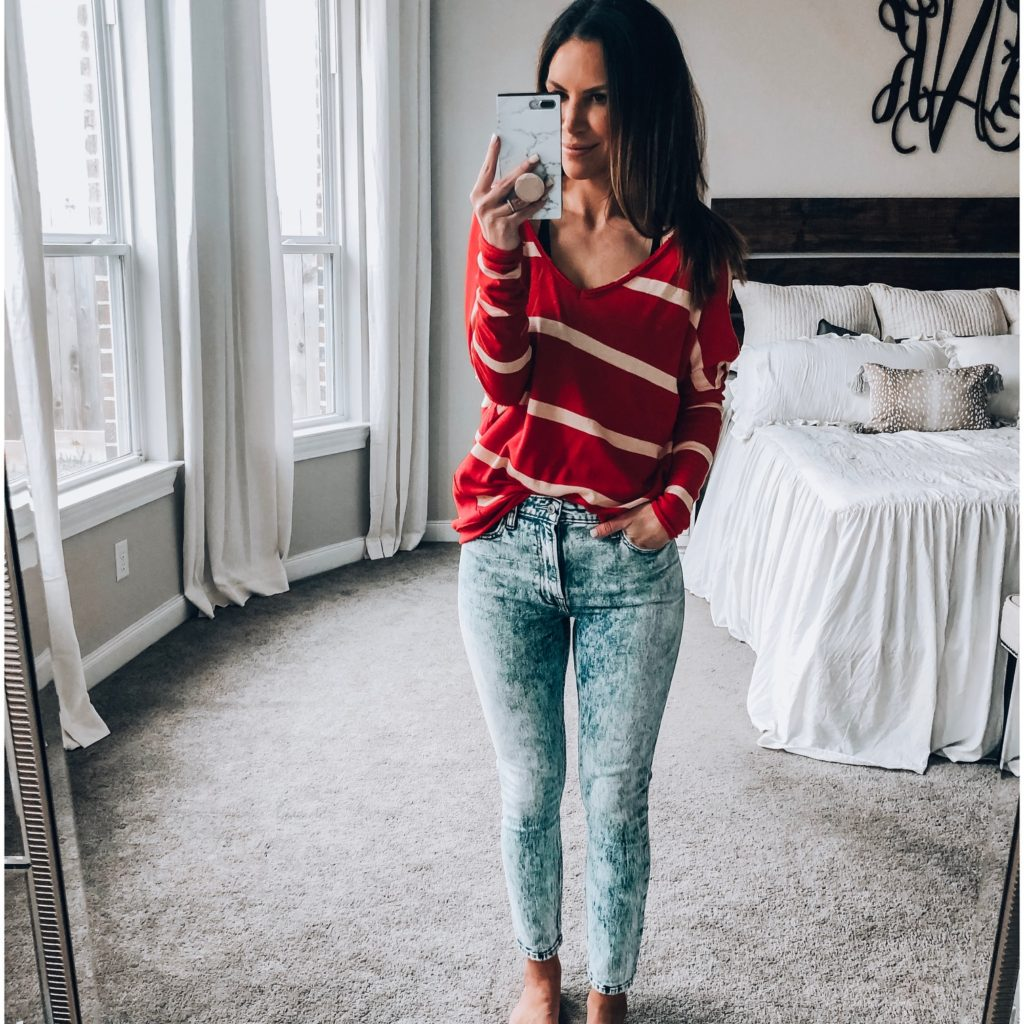High Rise Light Acid Wash Jeans and Free People Striped Tee