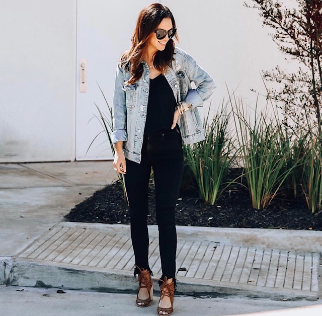 All black outfit with oversized denim jacket