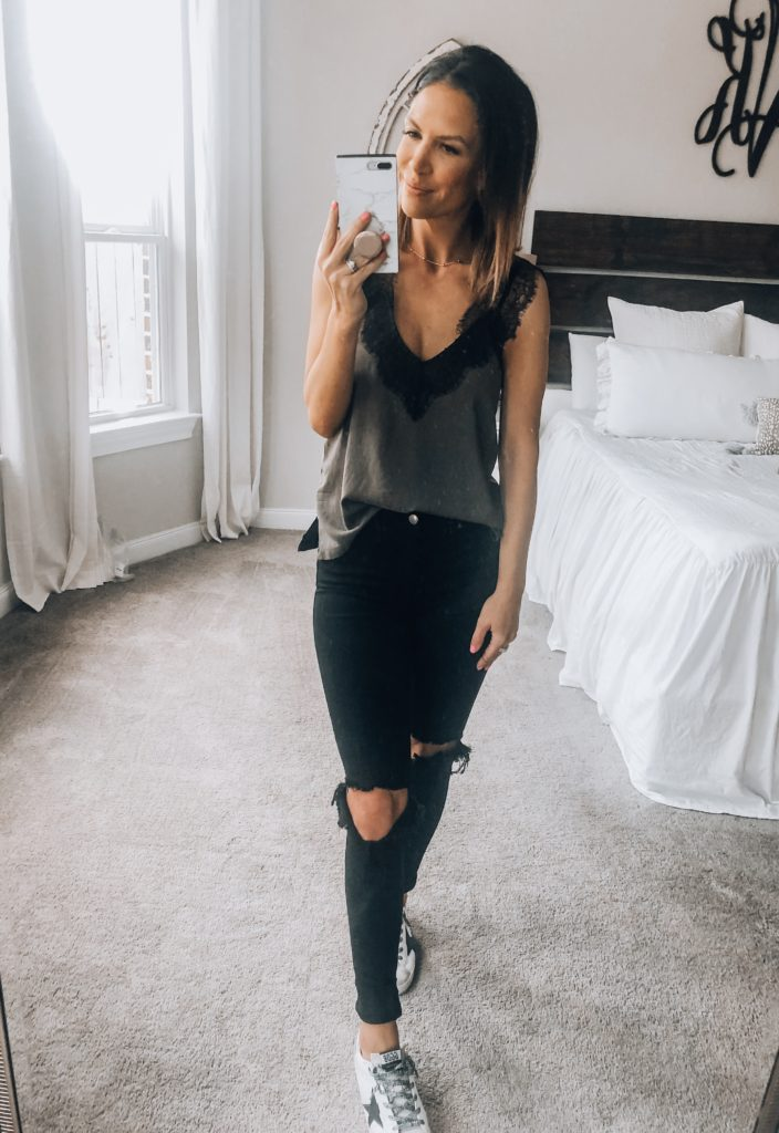 Lace Cami with Distressed Jeans
