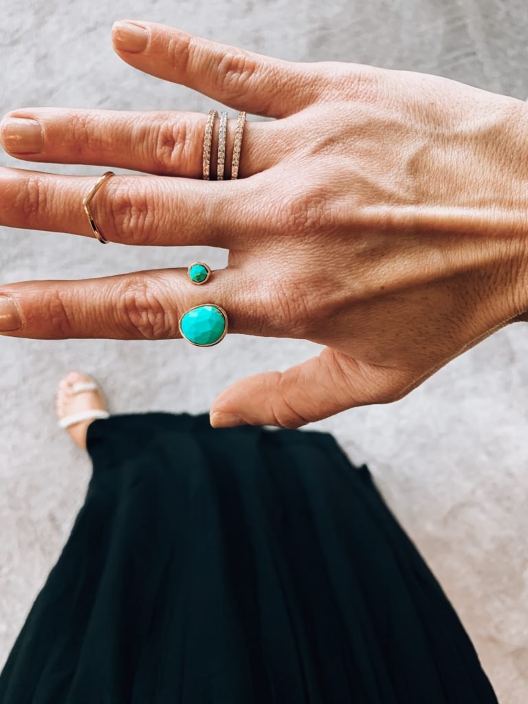 amazon jewelry.Amazon Stackable rings.  Chevron Ring. Turquoise open circle ring