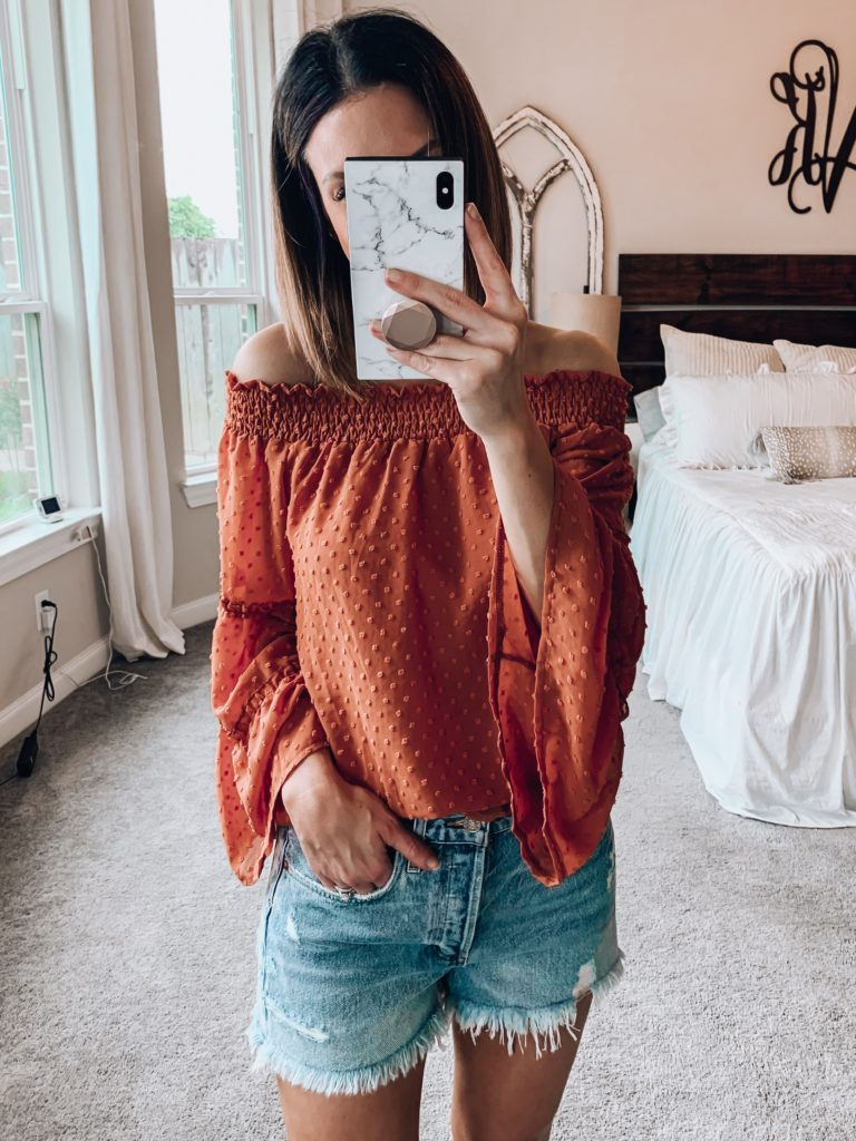 Womens Off The Shoulder Tops Summer Blouses Casual Chiffon Bell Sleeve Ruffle Tunic Shirts