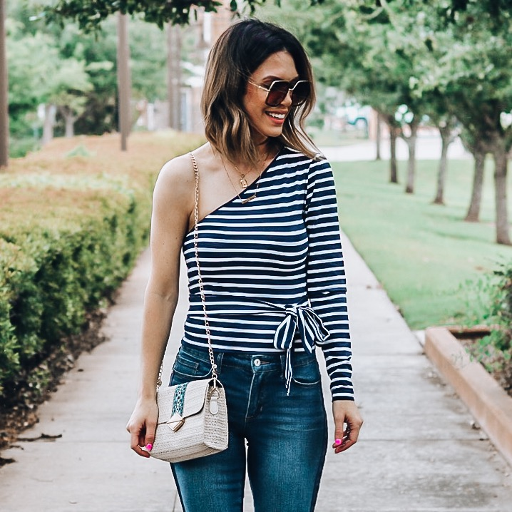Wal Mart Women's Fashion. Womens one shoulder wrap top. Women's spring and summer outfit idea.