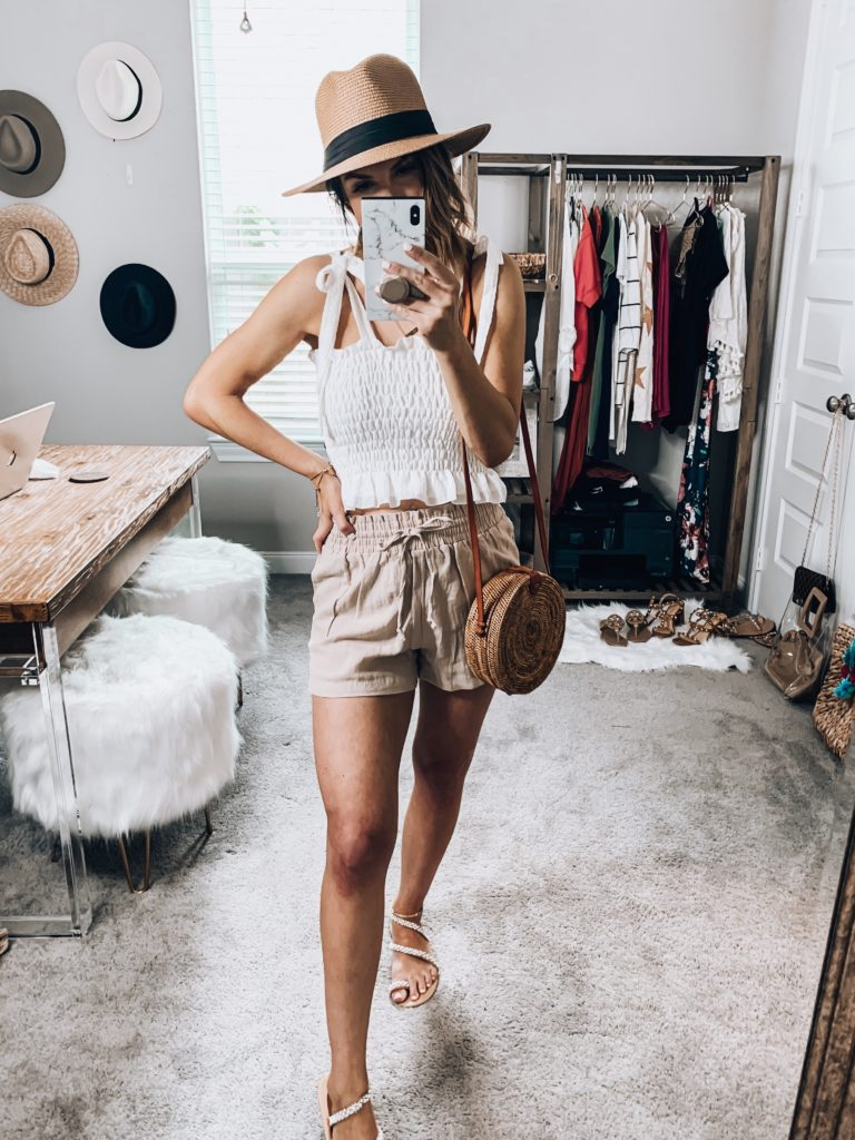 Amazon Fashion Smocked top and linen shorts.  Beach Style