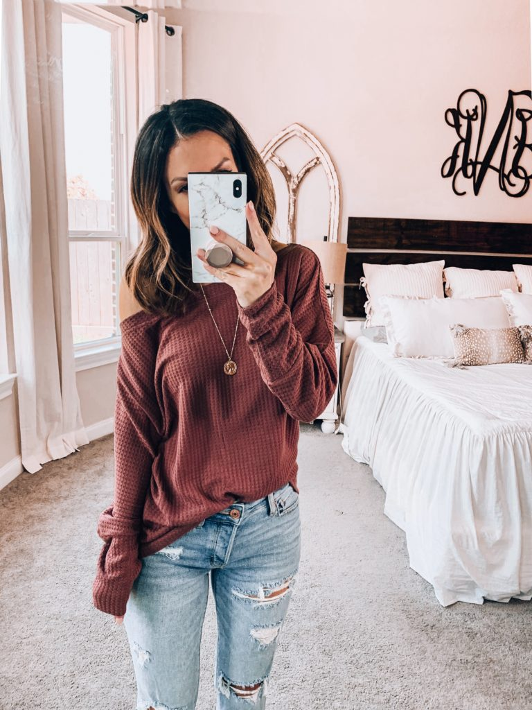 thermal off the shoulder amazon top