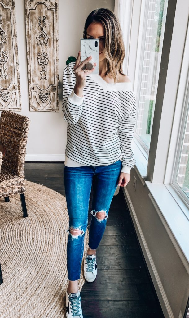 striped thermal tee for women fall fashion