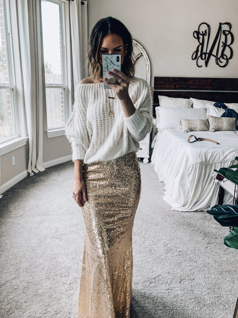 sequins maxi skirt with oversized sweater