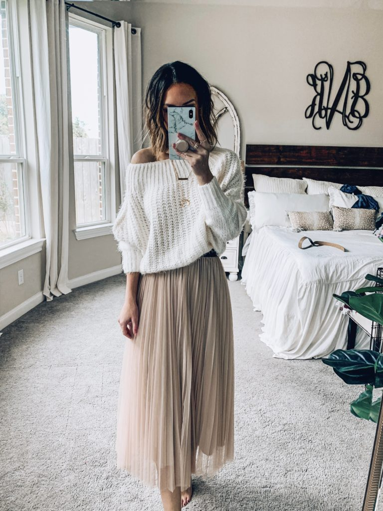 pleated midi skirt with oversized sweater