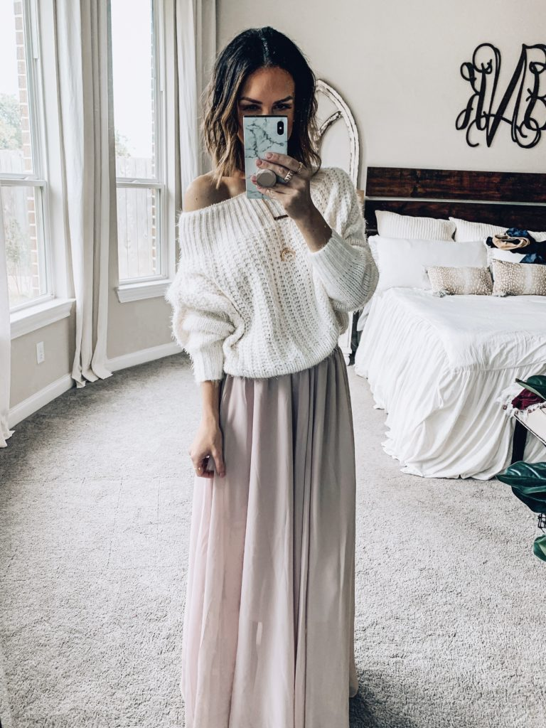 flowy maxi skirt and lace shirt / oversized sweater