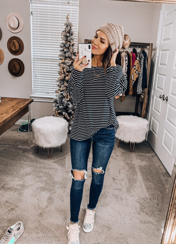 amazon striped casual top and beanie