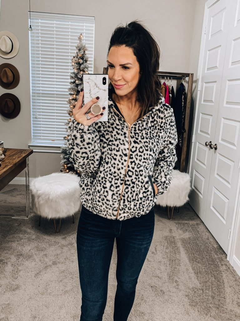 amazon leopard sherpa bomber jacket with faux leather details